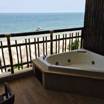 View from our room, the jacuzzi tub