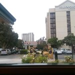View of the hotel from Black Bear diner, an american restaurant that serves good value for money