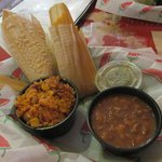 The tamales, rice and beans with green salsa
