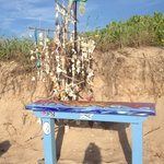Near little memory bench in the beach where you can make a string of shells and hang them with o