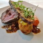 Dinner: main course, venison with spiced carrot and carrot cake