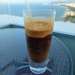 Iced coffee at rooftop bar
