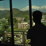 It's me enjoying with mountain view from bed.