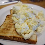 Delicious scrambled egg on toast