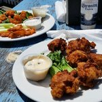 Conch fritters and buffalo shrimp