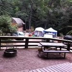 Shared fire pit and table for 65A and B - below is one camping cabin and a tent area.