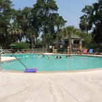 Recreation pool with Tiki bar is one of two great pools
