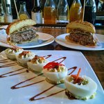 $5 Amazing Happy Hour Burger and Delicious Deviled Eggs