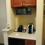 Microwave, fridge, coffee maker