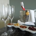 Complimentary champagne and snacks upon arrival