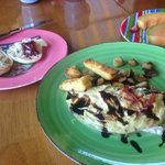 BWH breakfast: Caprese omelette (mozzarella, basil, balsamic vin.), beach plum jelly, local prod