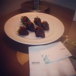 Dipped Strawberries.. A gesture from staff for long wait to check in.. It was our anniversary tr