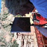 Lunell Gilley, Palo Duro Plein Air Artist, painting the backdrop of TEXAS in the Amphitheater.