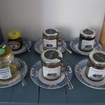 Tastefully arranged (and delicious) locally made jams.