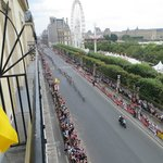 This is out on the left balcony- views of the Tuilleries, Louvre and the Tour de France race bel