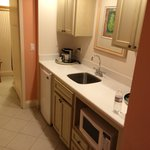 Kitchenette near entrance to room. Cabinets below sink would not close. Closet in th background