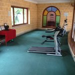 The gym.  1 6kg dumbbell a 1 legged cross trainer and a running machine you can't run on.   Shoc
