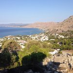 View from up Ilias chapel hill overlooking Pefkos & Stella View mid-right in distance with purpl