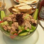 Tuna salad for dinner at bar area x