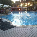 Swimming pool and restaurant in the evening