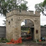 Historic gate at Upper Fort Garry.  Landscaping in progress.