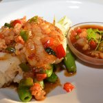 Sea Bass with Pea Pods and Chili Sauce
