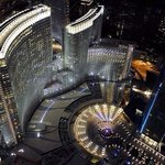 Stunning aerial of the hotel at night.