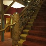 Impressive staircase made from redwood