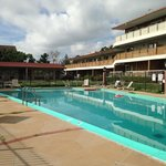 View of the pool on the Super8 side of the hotel complex.