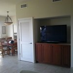 Large flat screen and dining area