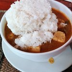 Khmer curry with fish and rice, I put all the rice in.. Delicious!!!