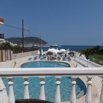 View from the breakfast terrace over the pool