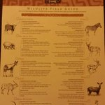 Menu of animals you can see