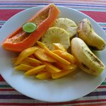 A fruit plate for a breakfast. Yummy! :)