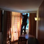 Curtains being fixed after complaints just after check in