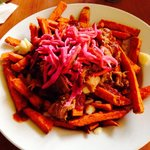 Sweet potato pulled pork poutine with apple coleslaw... $14... What's not to love?