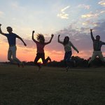 Jump in Zambia! What beautiful sunset the guide brought us to enjoy!