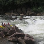 A raft approaching the rapids