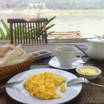 Breakfast with the view over the Mekong river