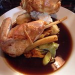 Roast chicken with all the trimmings, a massive portion of well seasoned tender chicken and real