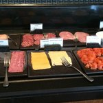 Breakfast buffet meats and cheese