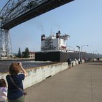 Freighter going under the bridge.
