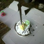 My B Day cake with this sword looking knife