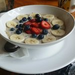 Amazing oatmeal with fresh berries and bananas.  Order this for sure!