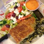 Spinach pie and salad