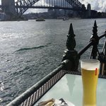 Beer and oysters with a great view