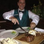 """Renee and the """"Summer of 74"""" Surf and Turf dinner.  The best!!!"""