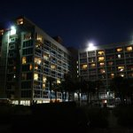 Hotel at night from the beach.