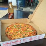 Great pizza! We chose one with spring onions and mixed peppers. Skinny crust is the way to go if