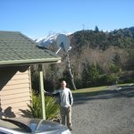 Outside of the chalet with view of snow capped peaks in background